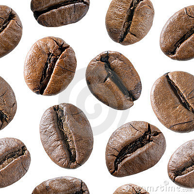 Coffee bean seamless background.
