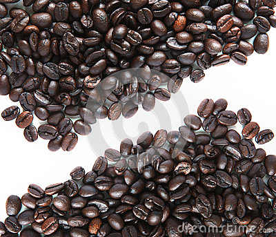 Coffee bean and white background