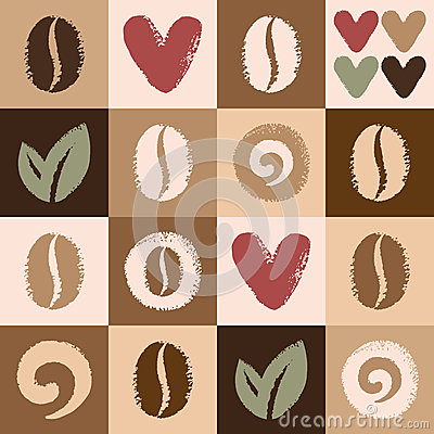 Free Coffee Beans And Hearts Seamless Vector Pattern Royalty Free Stock Images - 45958639