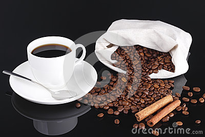 Coffee and beans from bag