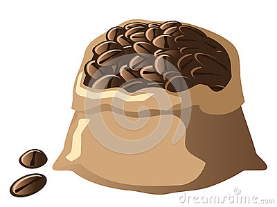 Coffee Beans in a Bag Vector Illustration