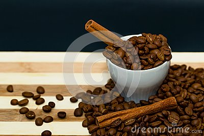 Coffee beans and cinnamon.