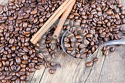 Coffee beans and cinnamon next scoop.