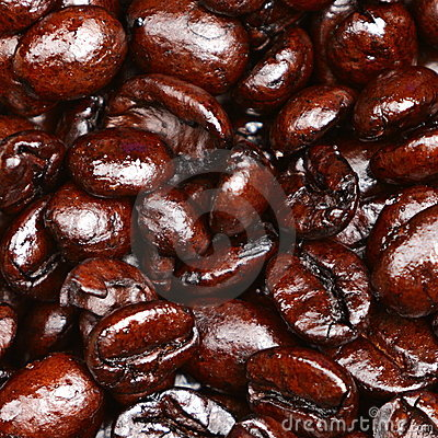 Coffee beans closeup texture background