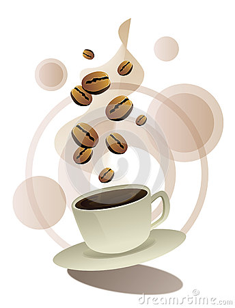 Coffee beans and coffee cup  graphic