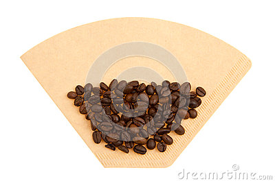 Coffee beans on a coffee filter