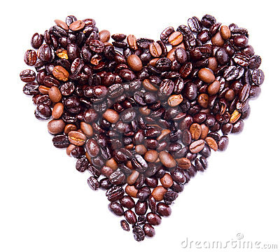 Coffee beans concept - heart health or love