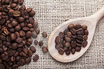 Coffee beans on fabric
