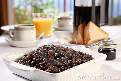 Coffee beans for a fresh cup at breakfast time