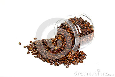 Coffee beans in the glass jar
