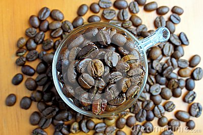 Coffee beans in the glass