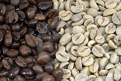 Coffee beans Green and Roasted