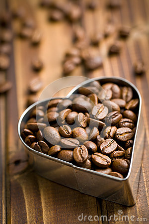 Coffee beans in heart form