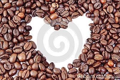 Coffee beans in heart shape