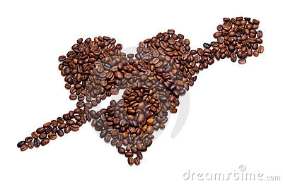 Coffee beans are a heart shaped