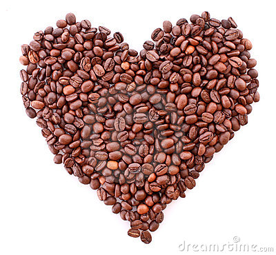 Coffee beans in heart symbol isolated