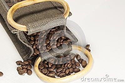 Coffee Beans in a Hessian Sack