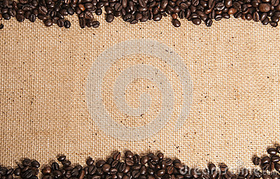 Coffee beans on hessian sack