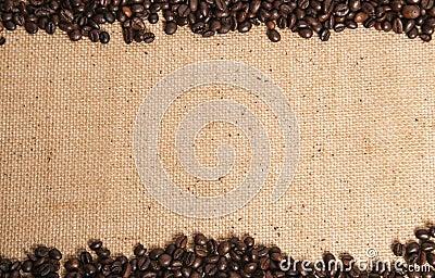 Coffee beans on hessian sack