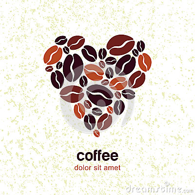 Free Coffee Beans In Heart Shape On Grunge Texture Background. Vector Royalty Free Stock Images - 56156309