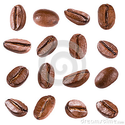Free Coffee Beans Isolated On White Stock Photography - 37997292