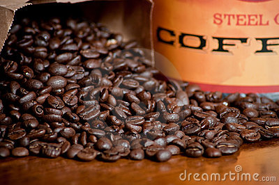 Coffee beans and jar