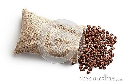 Coffee beans in jute bag