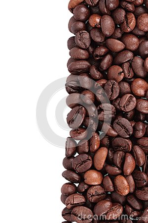 Coffee beans lined up vertical