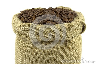 Coffee beans and linen sack