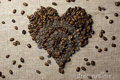 Coffee beans love heart