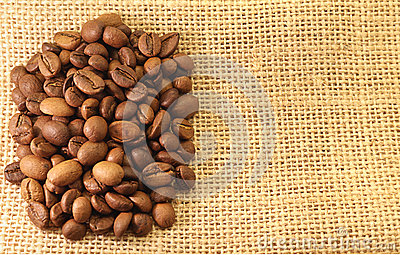 Coffee Beans on material