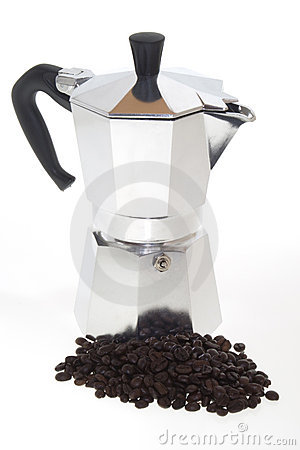 Coffee Beans and Moka on white