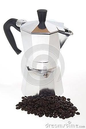 Coffee Beans and Moka on white