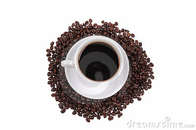 Coffee beans with mug