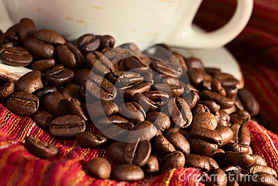Coffee Beans on Red Cloth