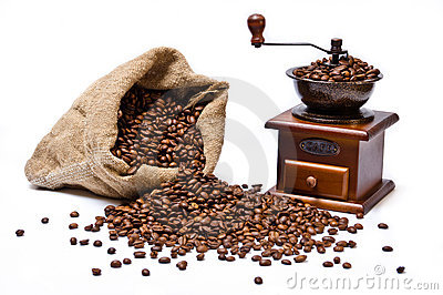 Coffee beans sack with coffee grinder still life