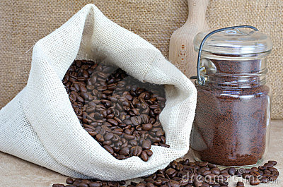 Coffee beans in a sack and Jar