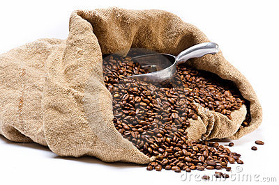 Coffee beans sack with metal scoop
