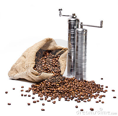 Coffee beans sack with two metal coffee grinders