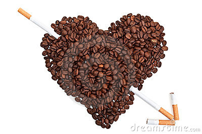 Coffee beans in the shape of the heart