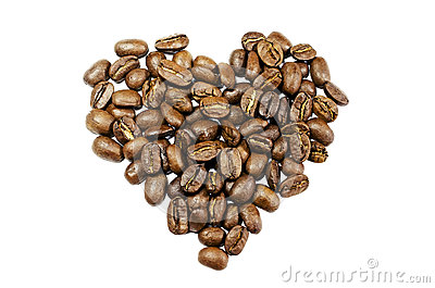 Coffee beans in the shape of a heart