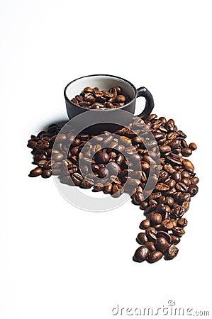 Coffee beans shaped like south america