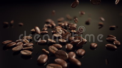 Coffee beans slow motion falling. High quality super slow motion coffee beans falling on a black table. Best for your commercial movie