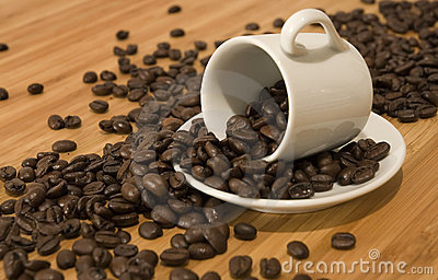 Coffee beans spilled