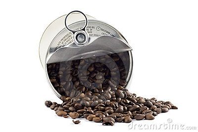 Coffee beans in tin can isolated