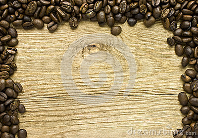 Coffee Beans on Wood Frame