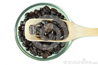Coffee beans in wooden spoon