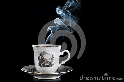 Coffee with blue smoke