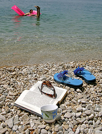 Coffee, Book,  Beach Stock Photography - Image: 11132532