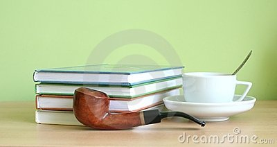 Coffee, books, pipe